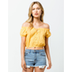 SKY AND SPARROW Eyelet Crop Yellow Womens Off The Shoulder Top