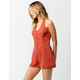 SKY AND SPARROW Button Front Halter Womens Romper