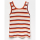 WHITE FAWN Stripe Sweater Red Girls Tank Top