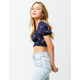 MILEY & MOLLY Smocked Floral Navy Womens Crop Top