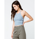 SKY AND SPARROW Sweater Knit Light Blue Womens Halter Top