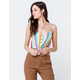 GOOD LUCK GEM Stripe Tie Front Womens Crop Tank Top