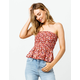 SKY AND SPARROW Ditsy Floral Tie Back Womens Tube Top