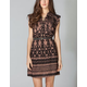 ANGIE Ethnic Print Belted Shirt Dress