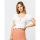 IVY & MAIN Peasant White Womens Crop Top