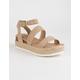 SODA Ankle Banded Taupe Womens Espadrille Flatform Sandals