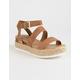 SODA Ankle Banded Tan Womens Espadrille Flatform Sandals