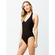 SKY AND SPARROW Ribbed Halter Black Womens Bodysuit