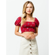 MILEY & MOLLY Smocked Floral Burgundy Womens Crop Top