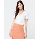 SKY AND SPARROW Buckle Wrap White Womens Crop Top
