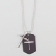 BLUE CROWN Cross Dogtag Necklace