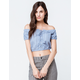 SKY AND SPARROW Eyelet Crop Light Blue Womens Off The Shoulder Top