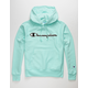 CHAMPION Reverse Weave Mesh & Leather Mint Mens Hoodie