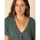WEST OF MELROSE Wood Light Brown Statement Necklace