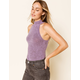 WEST OF MELROSE Had It Up To Here Mock Neck Lilac Womens Tank Top
