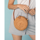 WEST OF MELROSE Rattan Crossbody Round Bag