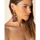 WEST OF MELROSE Wood Coin & Fringe Dangle Earrings