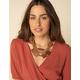 WEST OF MELROSE Wood Dark Brown Statement Necklace