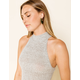 WEST OF MELROSE Had It Up To Here Mock Neck Heather Gray Womens Tank Top