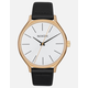 NIXON Clique Leather Gold & Bar Watch