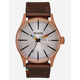 NIXON Sentry Leather Copper & Brown Watch