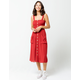 GOOD LUCK GEM Smock Button Front Burgundy Midi Dress