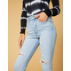 LEVI'S Wedgie High Rise Light Indigo Womens Skinny Ripped Jeans