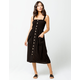 GOOD LUCK GEM Smock Button Front Black Midi Dress