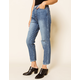 FLYING MONKEY Ankle Crop Ripped Womens Straight Leg Jeans