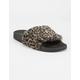QUPID Faux Fur Leopard Brown Womens Sandals