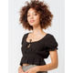 IVY & MAIN Peasant Black Womens Crop Top