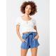 INDIGO REIN Stripe Tie Front Paperbag Waist Womens Shorts