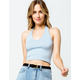 FULL TILT Essentials Solid Blue Womens Crop Halter Top