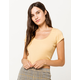 DESTINED Picot Trim Neck Yellow Womens Tee