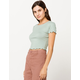 BOZZOLO Ribbed Lettuce Edge Light Green Womens Crop Tee