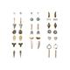 FULL TILT 20 Pairs Leaf Bar & Rose Earrings