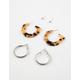 FULL TILT 3 Pairs Rhinestone & Tortoise Hoop Earrings
