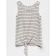 WHITE FAWN Stripe Tie Front Cream & Black Girls Tank Top