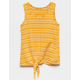 WHITE FAWN Stripe Tie Front Mustard Girls Tank Top