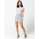 SKY AND SPARROW Stripe Mini Denim Skirt