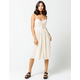 SKY AND SPARROW Knot Button Front Cream Midi Dress