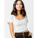 IVY & MAIN Floral Structured White Womens Crop Top