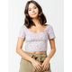 IVY & MAIN Floral Structured Lavender Womens Crop Top