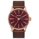 NIXON Sentry Leather Burgundy & Rose Gold Watch