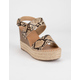 SODA Trip Snake Womens Espadrille Wedges