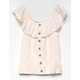 WHITE FAWN Ruffle Button Front Smock Cream Girls Top