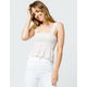 IJOAH Smocked Ditsy Floral White Womens Crop Tank Top