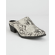 QUPID Sochi Snake Womens Heeled Mules