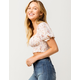 MILEY AND MOLLY Floral Peasant Womens Crop Top