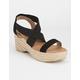 QUPID Elastic Ankle Espadrille Black Womens Wedge Sandals